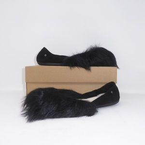 NIB UGG Jeanie Fluff Ballet Flats Black